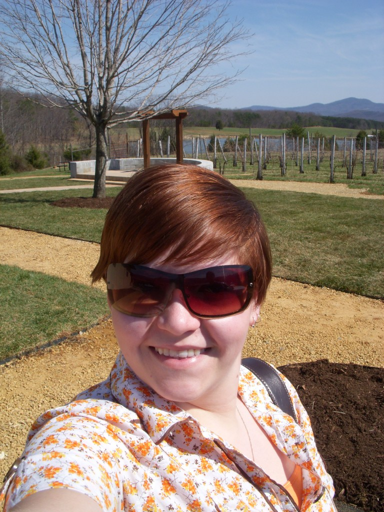 April outside of Afton Mountain Vineyards