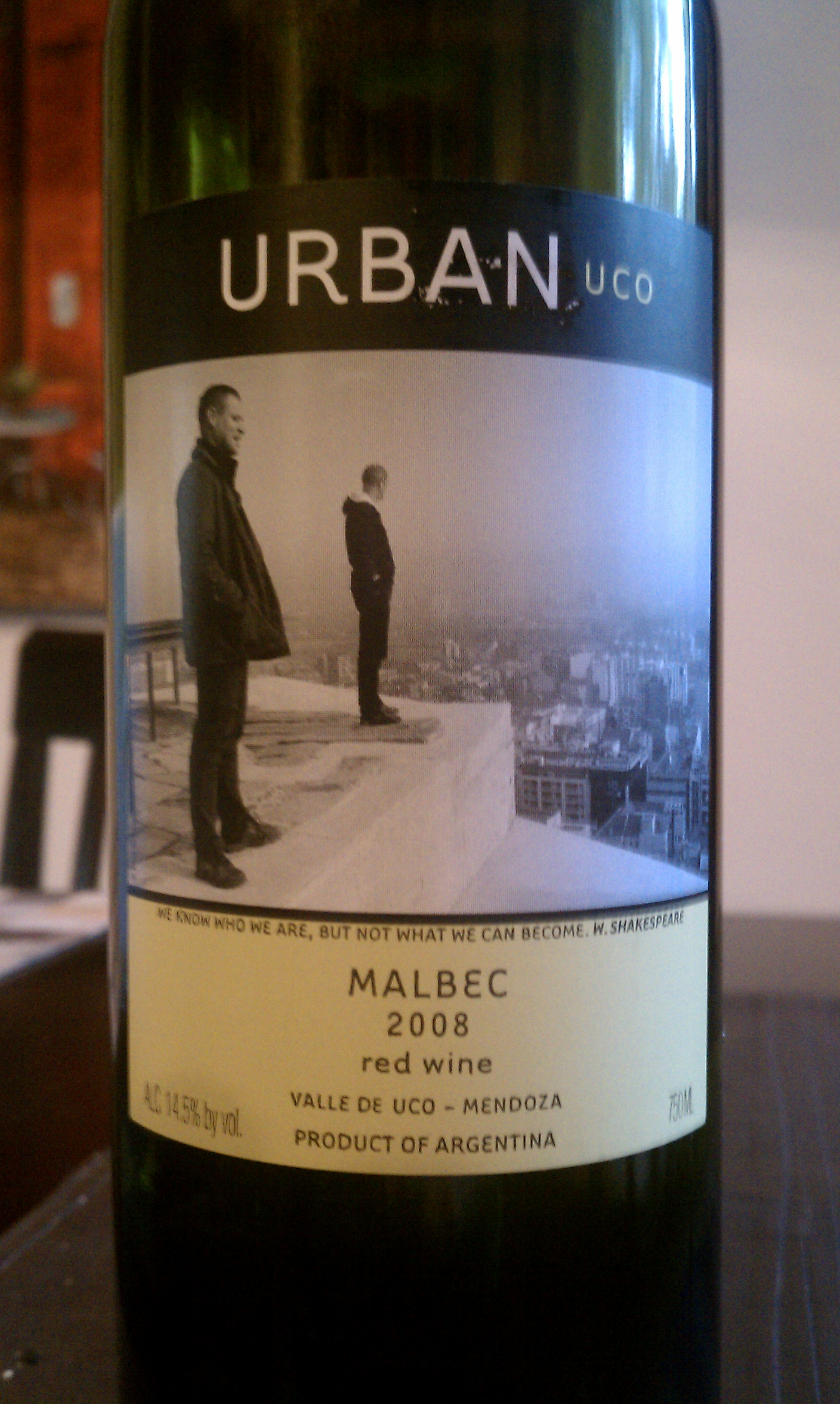 2008 Urban Uco Malbec from Argentina