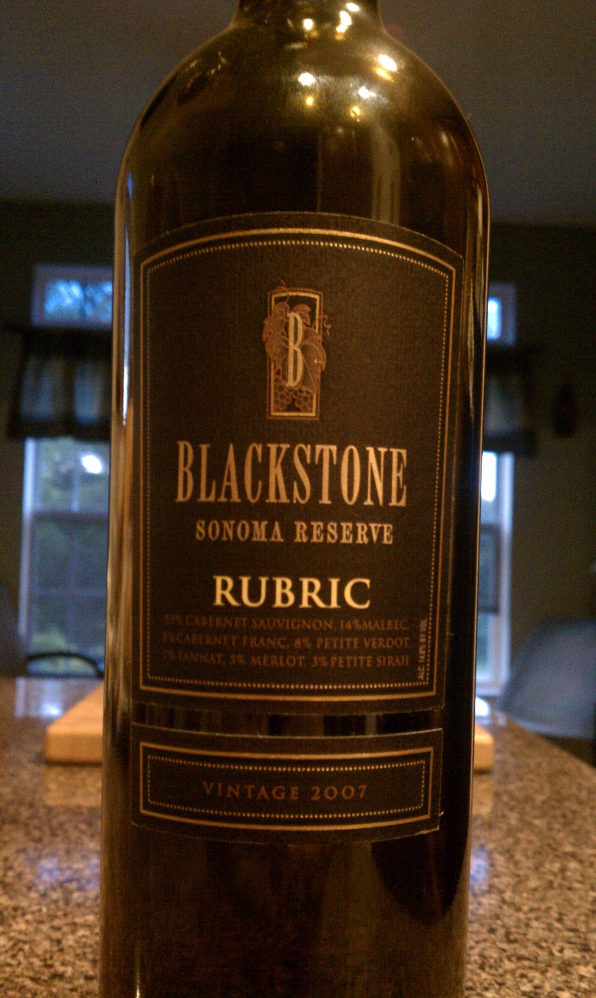 2007 Blackstone Sonoma Reserve Rubric