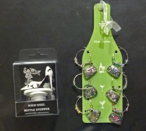 High heel shoe wine bottle stopper and puirse wine glass charms