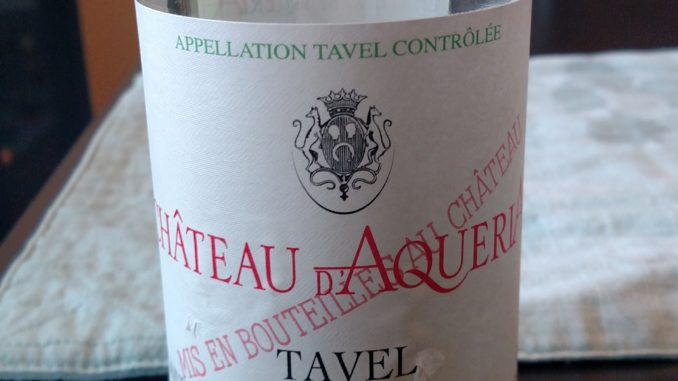 Bottle of 2015 Chateau d'Aqueria Tavel Rose'