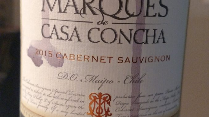 Image of a bottle of 2015 Marques de Casa Concha Cabernet Sauvignon