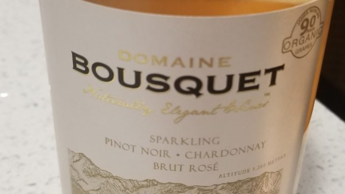 Image of a bottle of Domaine Bousquet Sparkling Rose' Brut