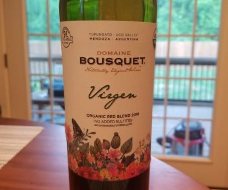 Image of a bottle of 2018 Domaine Bousquet Virgen Organic Red Blend