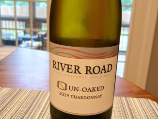 Image of a bottle of 2019 River Road Un-Oaked Chardonnay