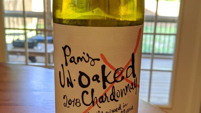 Image of a bottle of 2018 Ron Rubin Pam's UN-oaked Chardonnay