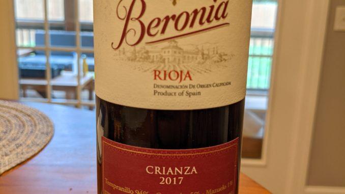 Image of a bottle of 2017 Beronia Crianza