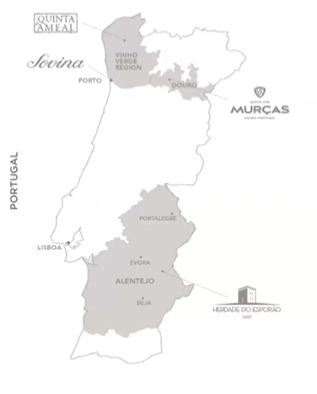 Image of a map of Portugal and the Vinho Verde and Douro regions.