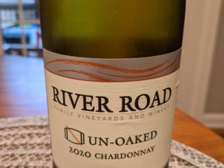 Image of a bottle of 2020 River Road Un-Oaked Chardonnay