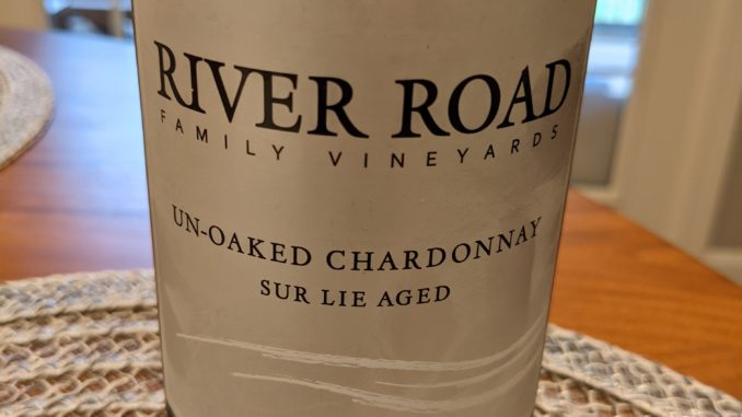 Image of a bottle of 2020 River Road Reserve Un-Oaked Chardonnay